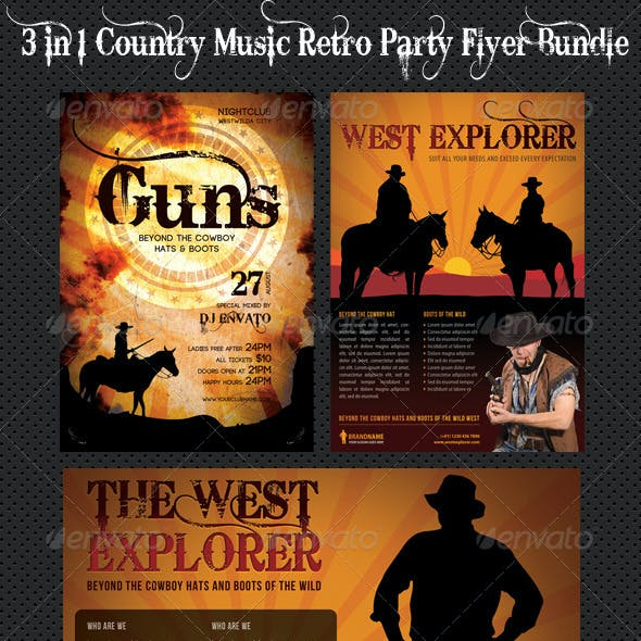 3 in 1 Country Music Retro Party Flyer Bundle