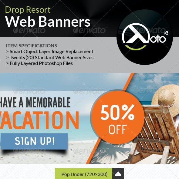 Drop Beach Resort Vacation Trip Web Banners