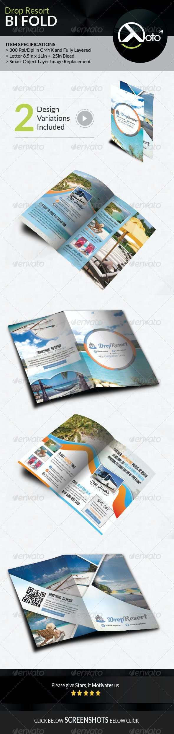 Drop Beach Resort Vacation Trip Bifold by totopc | GraphicRiver