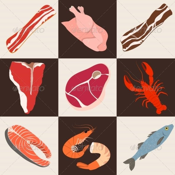 Fish and Meat Flat Icons