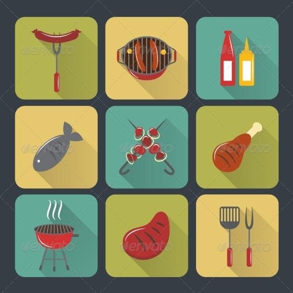 BBQ Grill Icons Flat Set