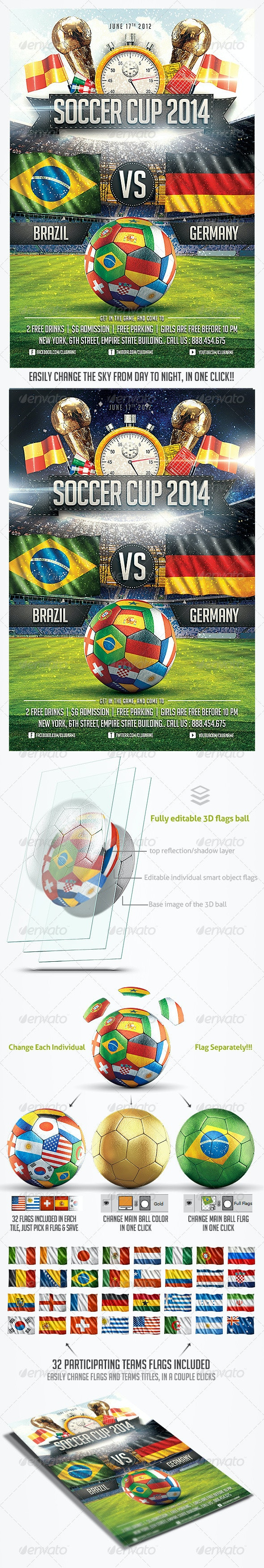 Soccer Cup 2014 party Flyer - Sports Events