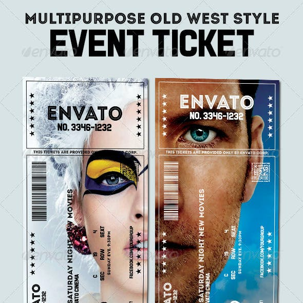 Elegant multipurpose event ticket