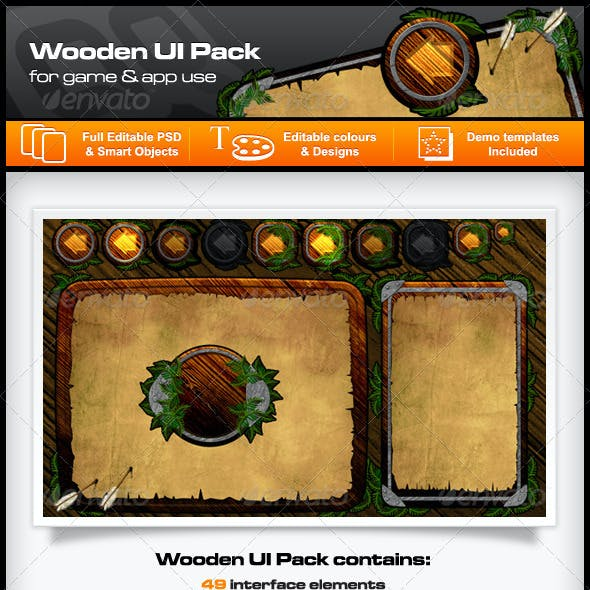 Wooden UI Designs for Games and Apps
