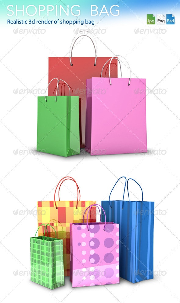 Colored Shopping Bag - 3D Renders Graphics