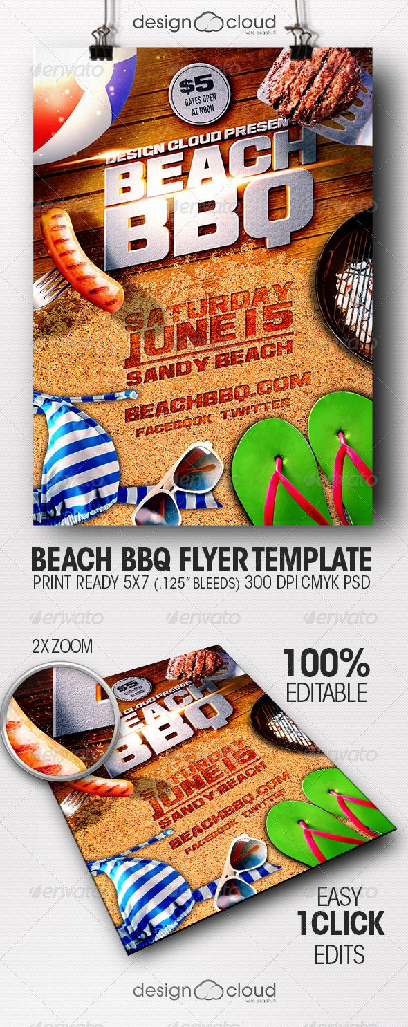 Beach BBQ Flyer Template - Miscellaneous Events