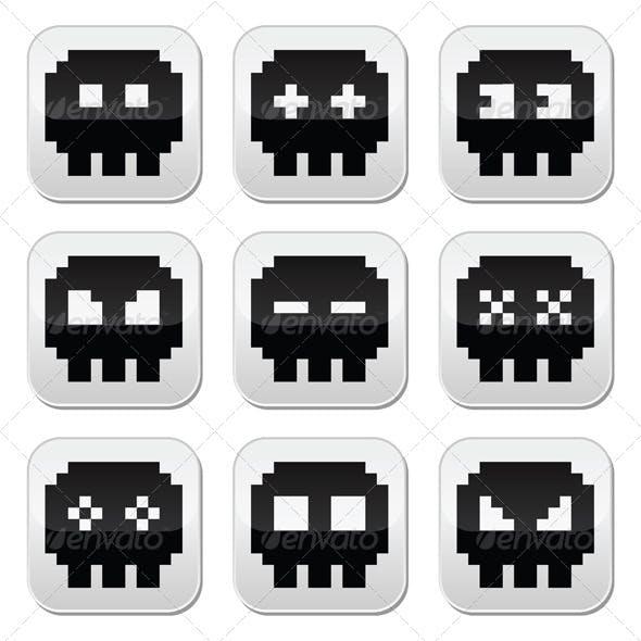 Pixelated 8 Bit Skull Icons Set