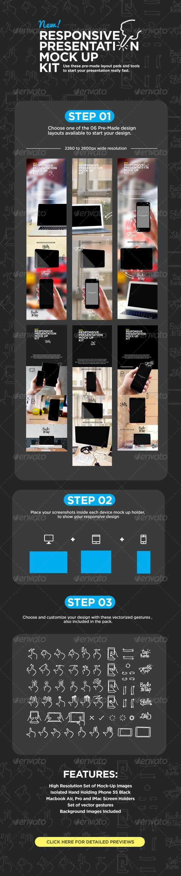 Responsive Screens Device Mock-Up - Multiple Displays