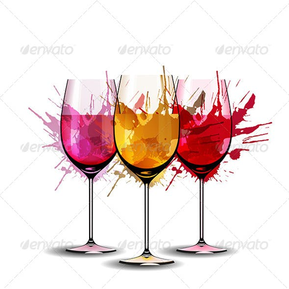 Three Wine Glasses with Colorful Splashes