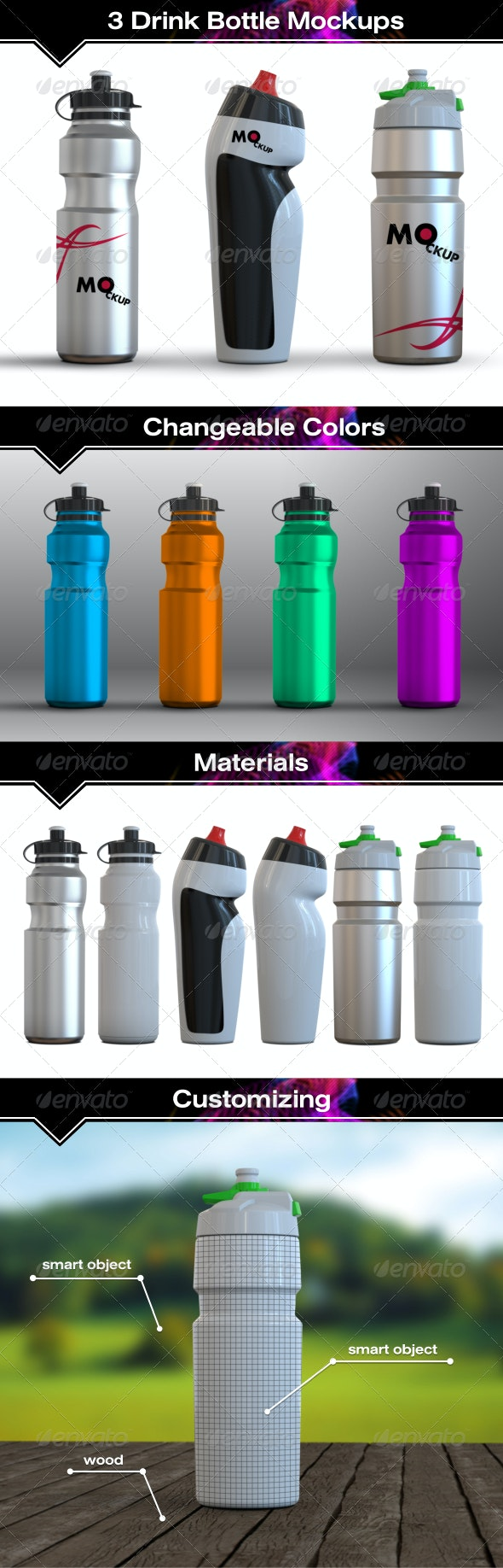 3 Drink Water Bottle Mockups - Food and Drink Packaging