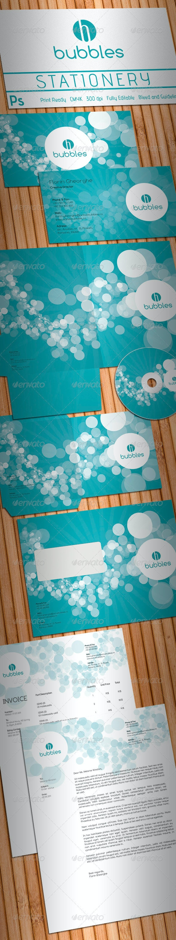 Active Bubbles Stationery - Stationery Print Templates