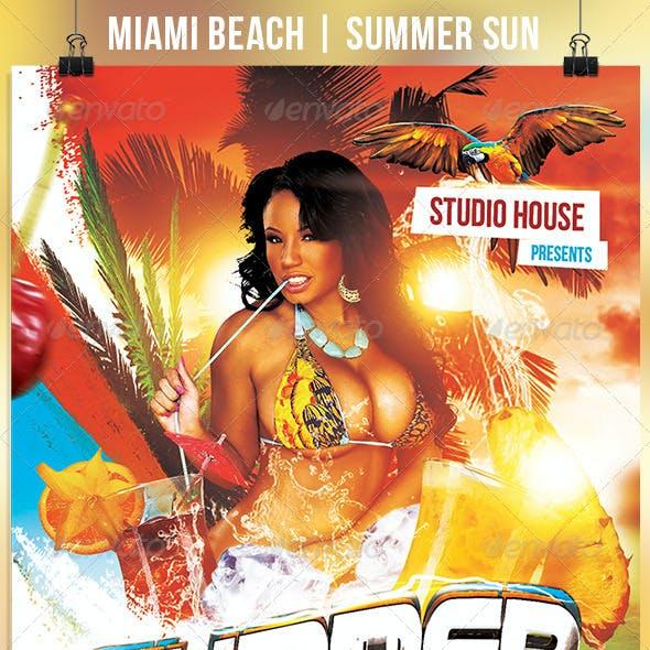 Miami Beach Summer Sun Party Flyer