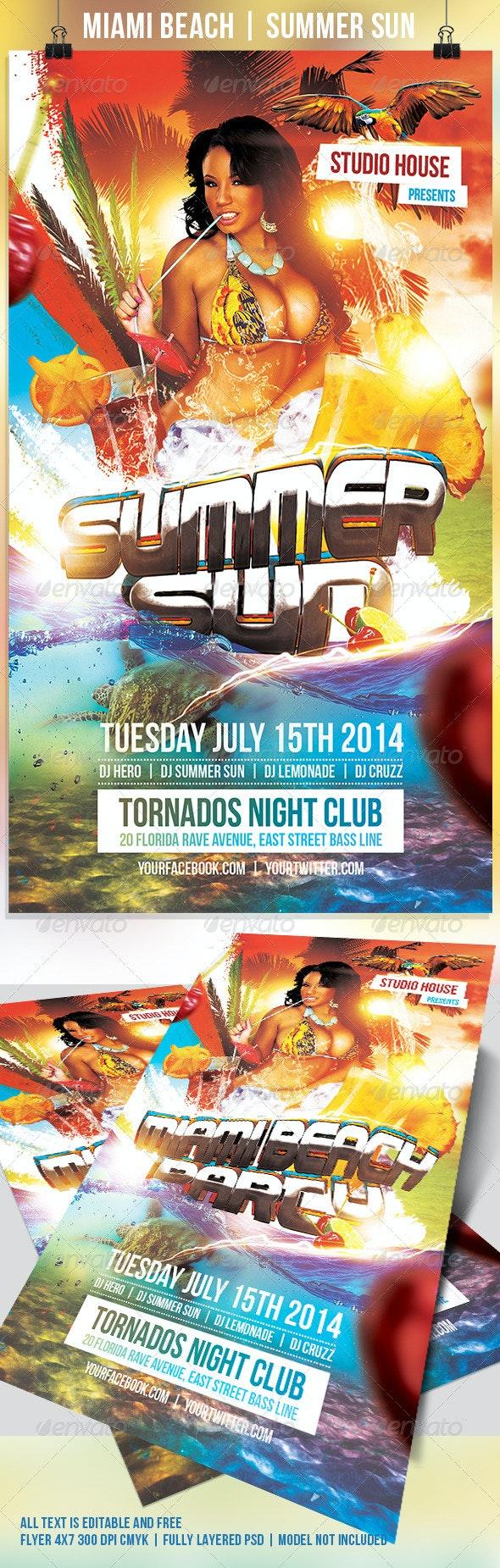 Miami Beach Summer Sun Party Flyer - Holidays Events