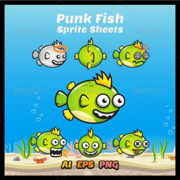 Game Character - Punk Fish Sprite Sheets