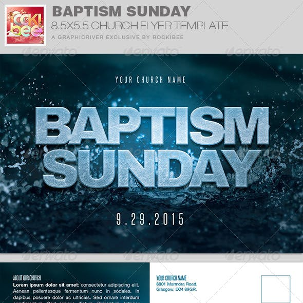 Baptism Sunday Church Flyer Invite Template
