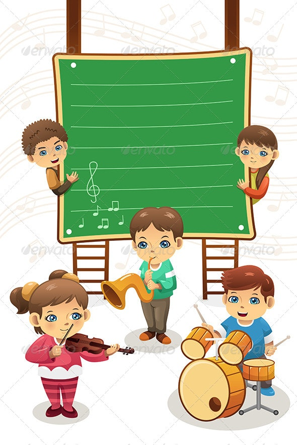 Kids Playing Music Poster - People Characters