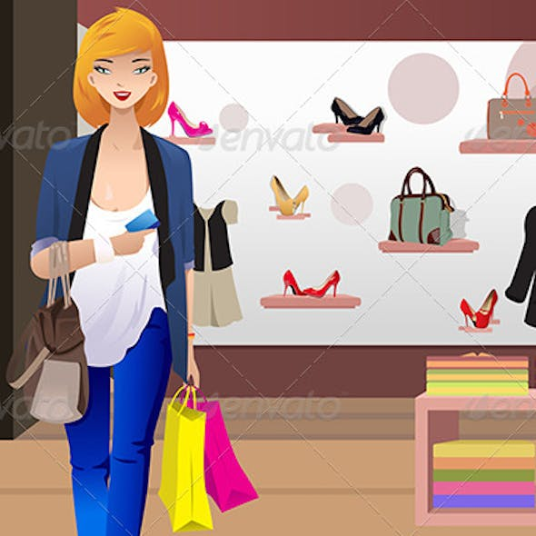 Shopping Woman in Clothing Store