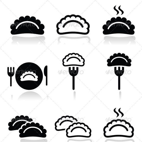 Dumplings Food Icons Set