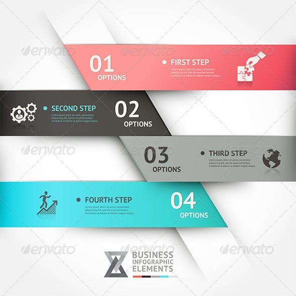 Modern Business Infographic Origami Template.