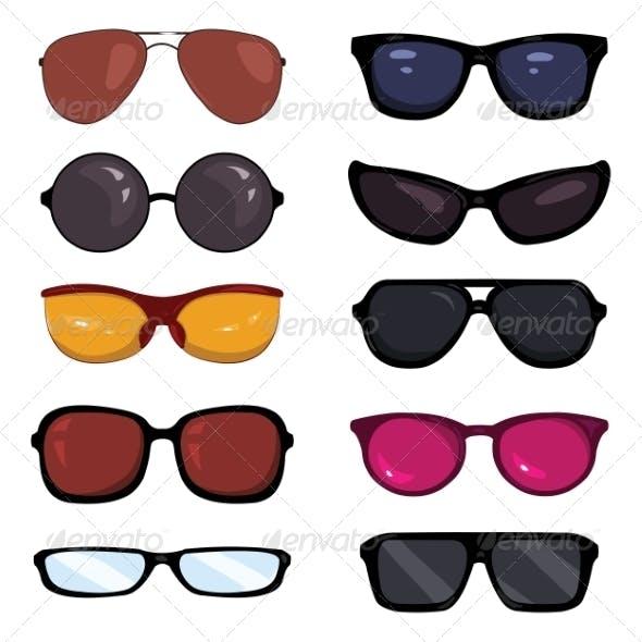 Set of Color Cartoon Glasses