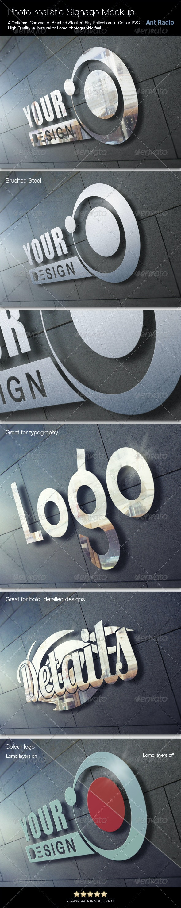 Photorealistic Metal Signage Mock-up - Signage Print