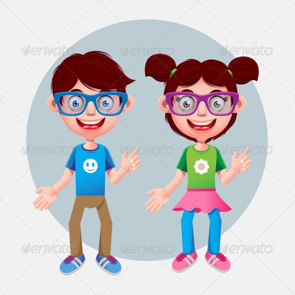 Boy and Girl Wearing Modern Glasses  - People Characters