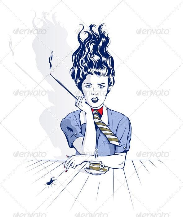 Smoke Cartoon Woman  - People Characters