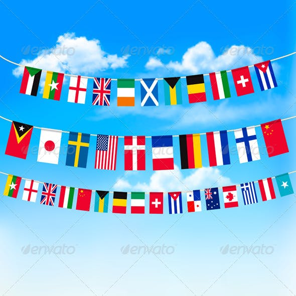 World Bunting Flags on Blue Sky