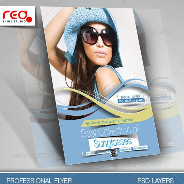 SunGlasses Fashion Store Flyer Template.