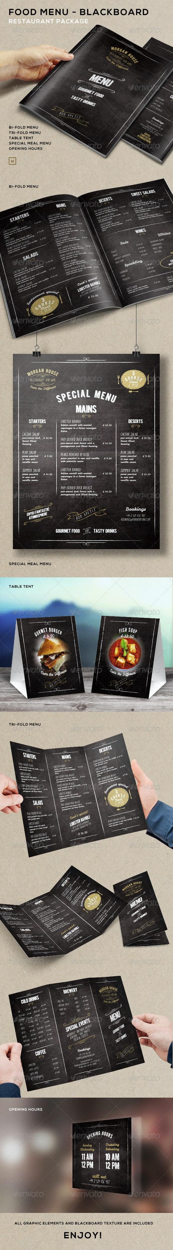 Food Menu - BlackBoard Restaurant Package - Food Menus Print Templates