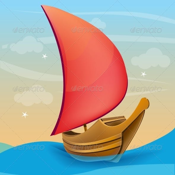 Boat with Red Sail on a Sunset Background