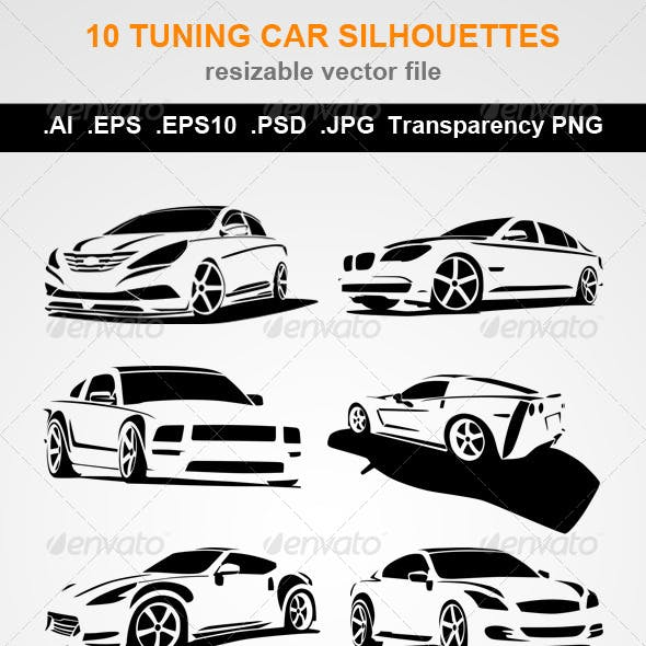 10 Tuning Car Silhouettes