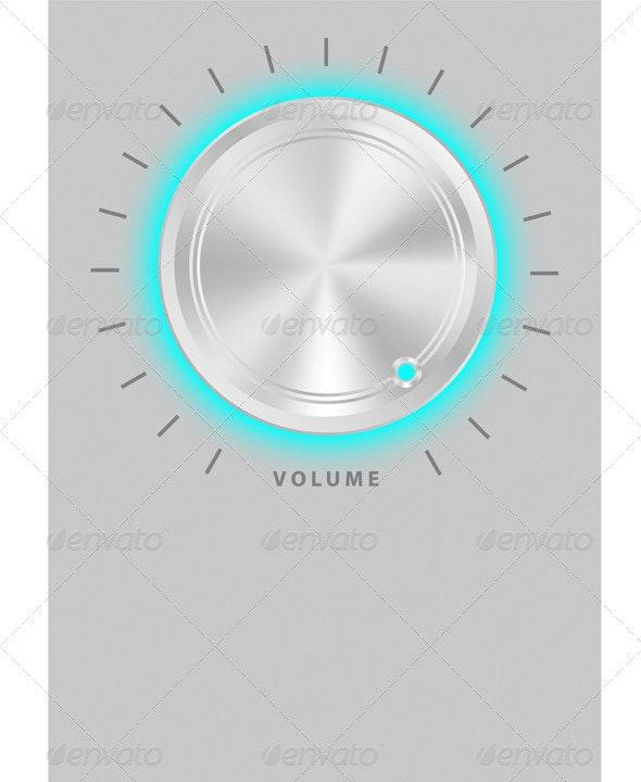 Metallic Volume Knob  - Characters Vectors