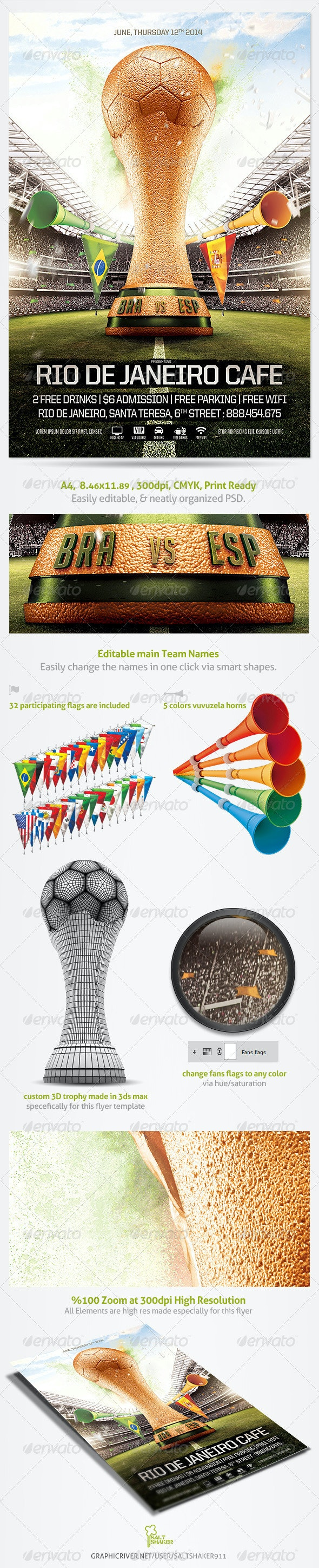 Brazil Soccer Cup Flyer 2014 Template - Sports Events