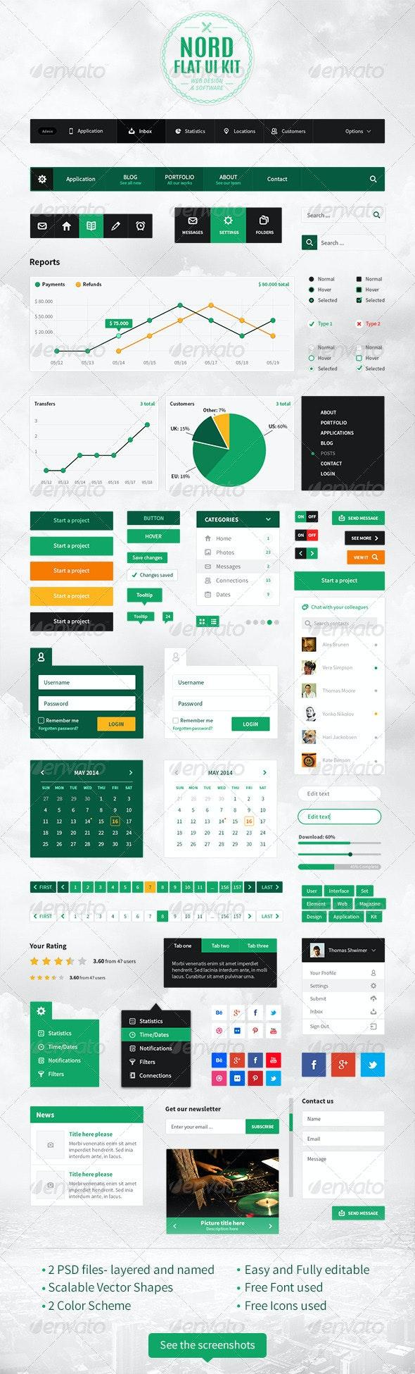 Nord Flat UI Kit - User Interfaces Web Elements