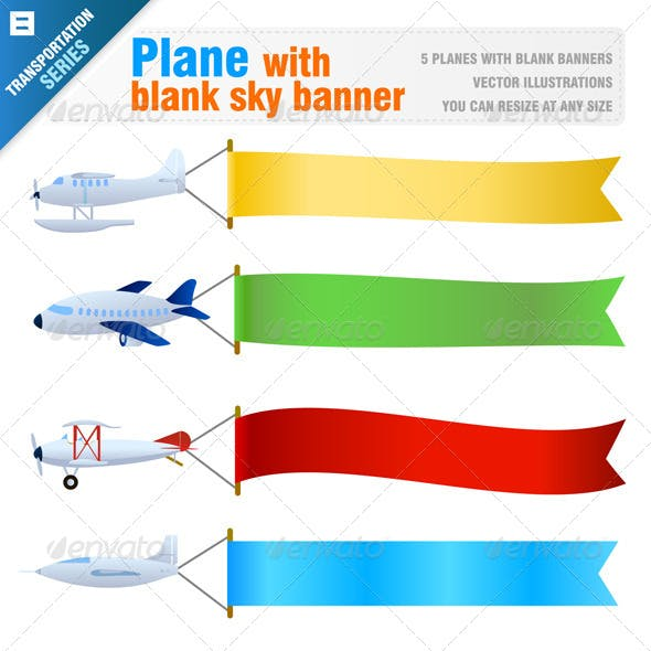 Plane with Blank Sky Banner