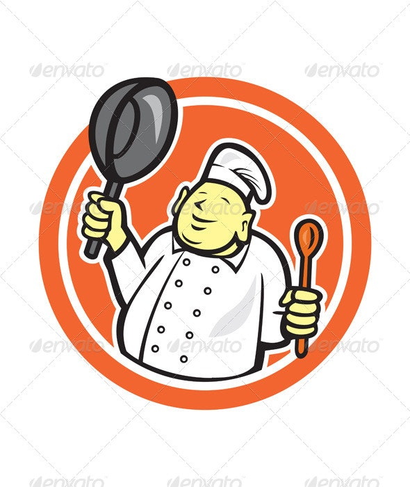 Fat Buddha Chef Cook Holding Pan Circle Cartoon - People Characters
