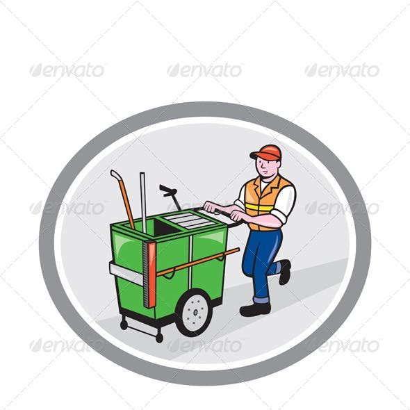 Street Cleaner Pushing Trolley in Oval