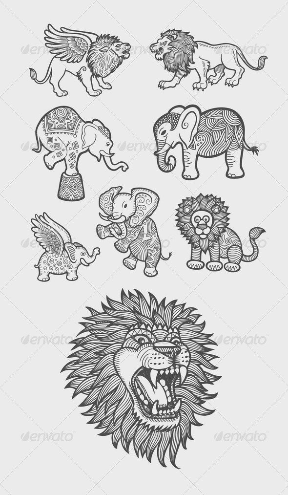 Lion and Elephant Decoration Sketch - Animals Characters