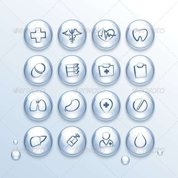 Medical Icons Set in Drops