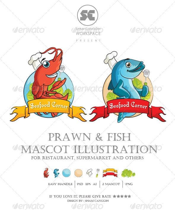 Prawn and Fish Mascot Illustration - Animals Characters