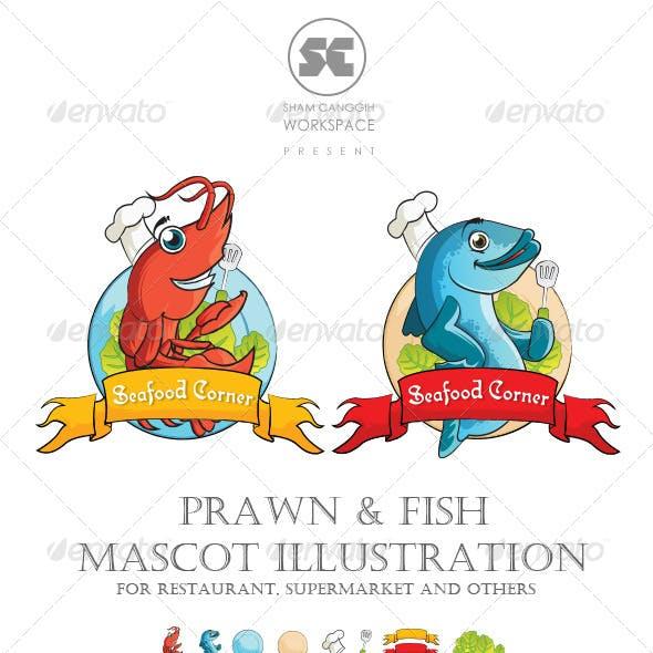 Prawn and Fish Mascot Illustration