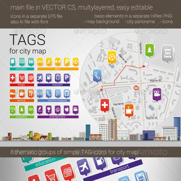 City Map Tag-Icons