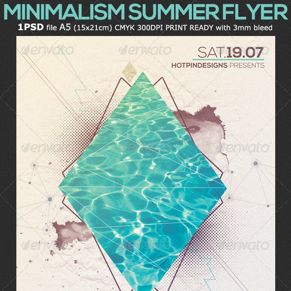 Minimalism Summer Pool Party Flyer