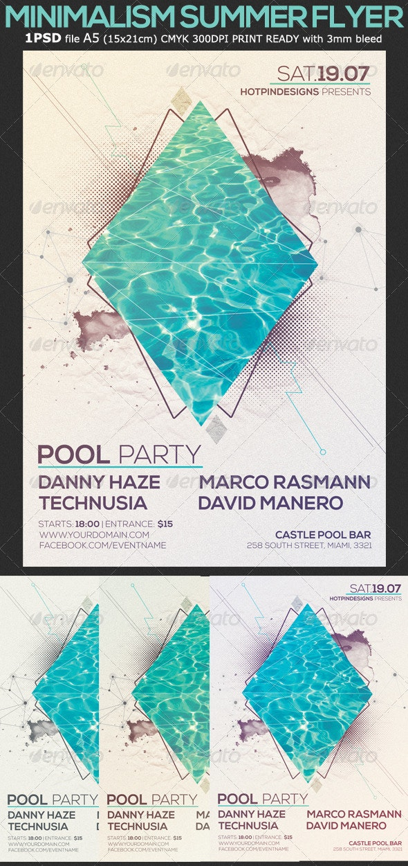 Minimalism Summer Pool Party Flyer - Events Flyers