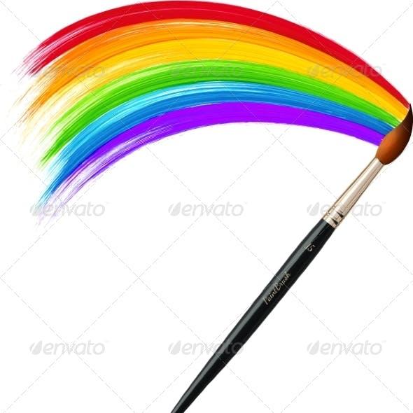Brush Painting Rainbow