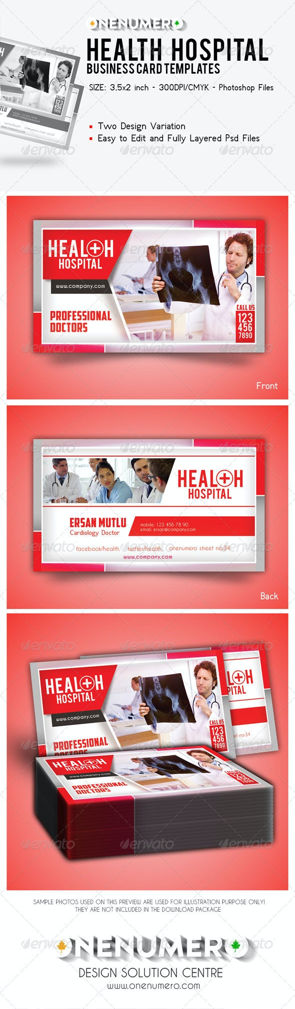 Health Hospital Business Card Templates - Corporate Business Cards