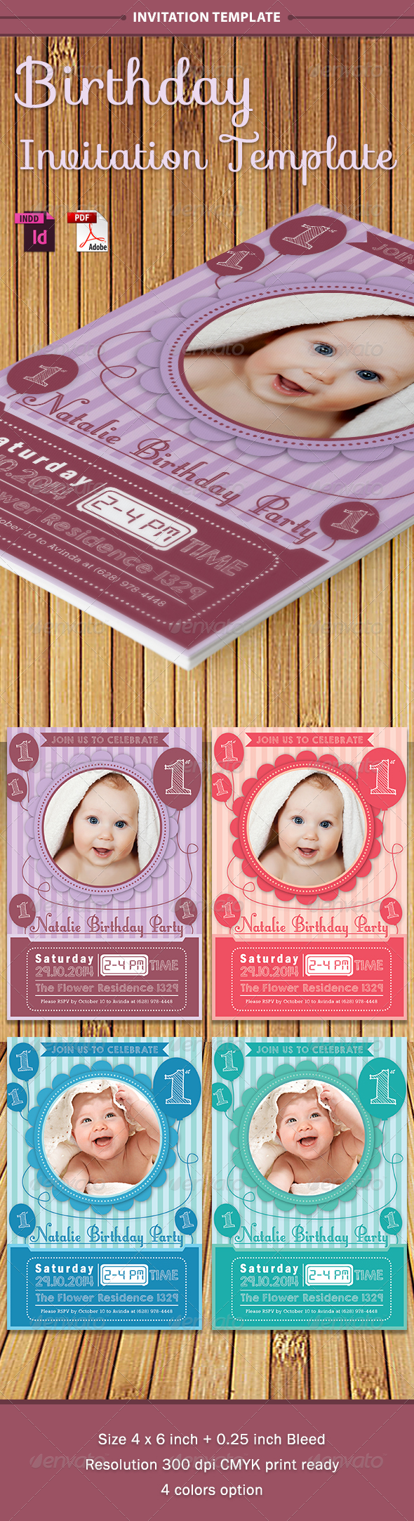 Baby Birthday Template - Vol. 1 - Birthday Greeting Cards