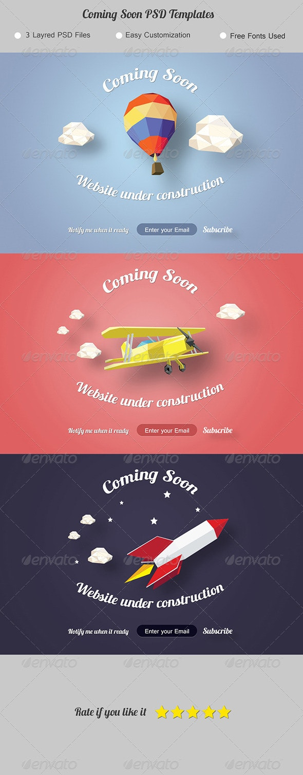 Coming Soon. Under Construction Page. - 404 Pages Web Elements