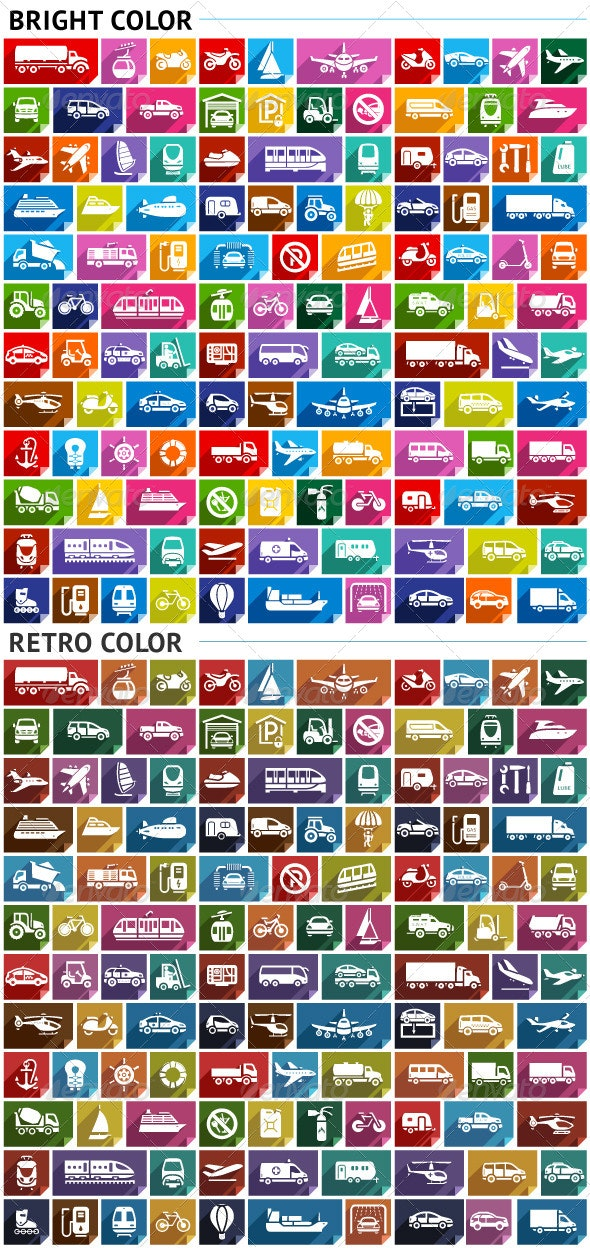 120 Transport Flat Icons on Paper Stickers - Decorative Symbols Decorative